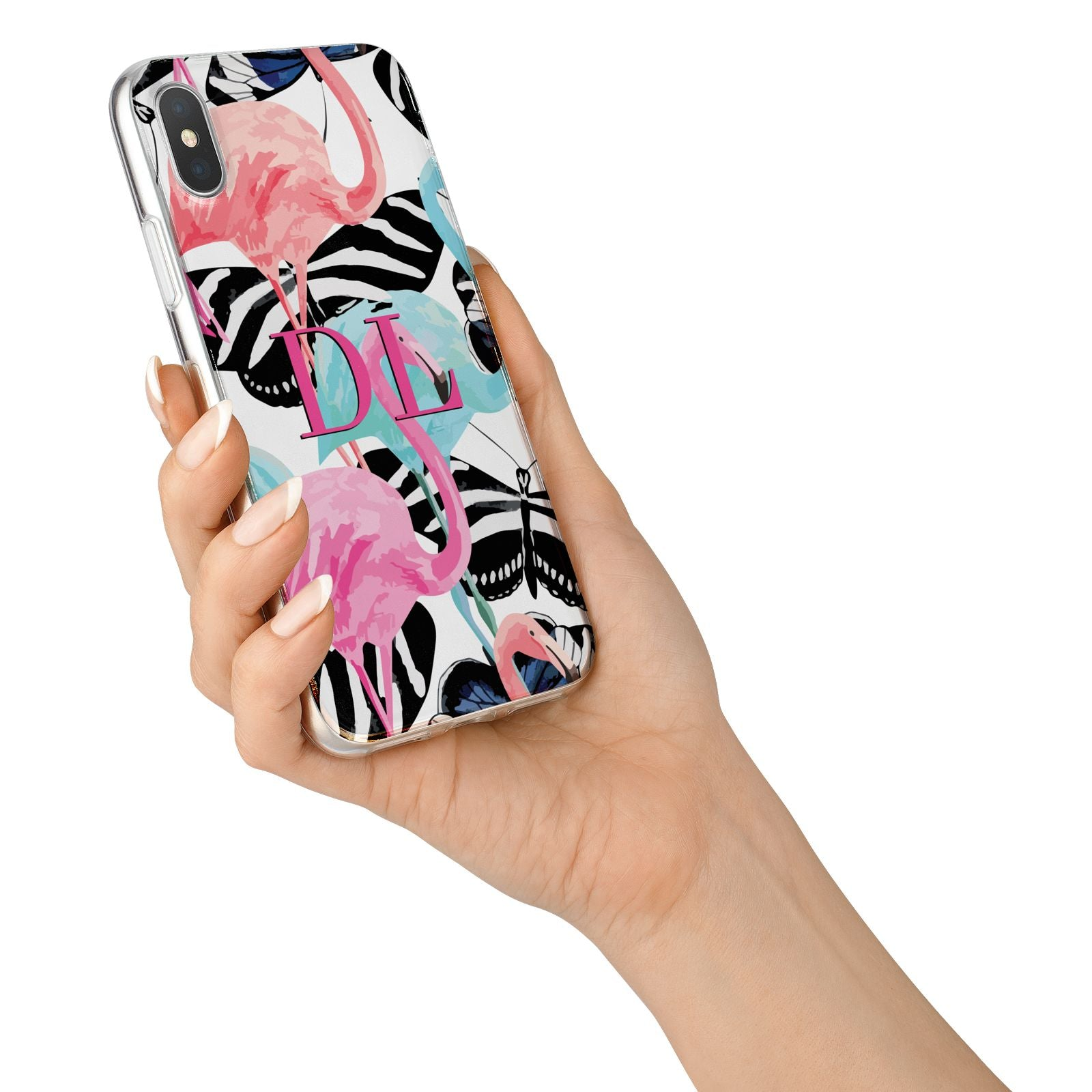 Butterflies Flamingos iPhone X Bumper Case on Silver iPhone Alternative Image 2