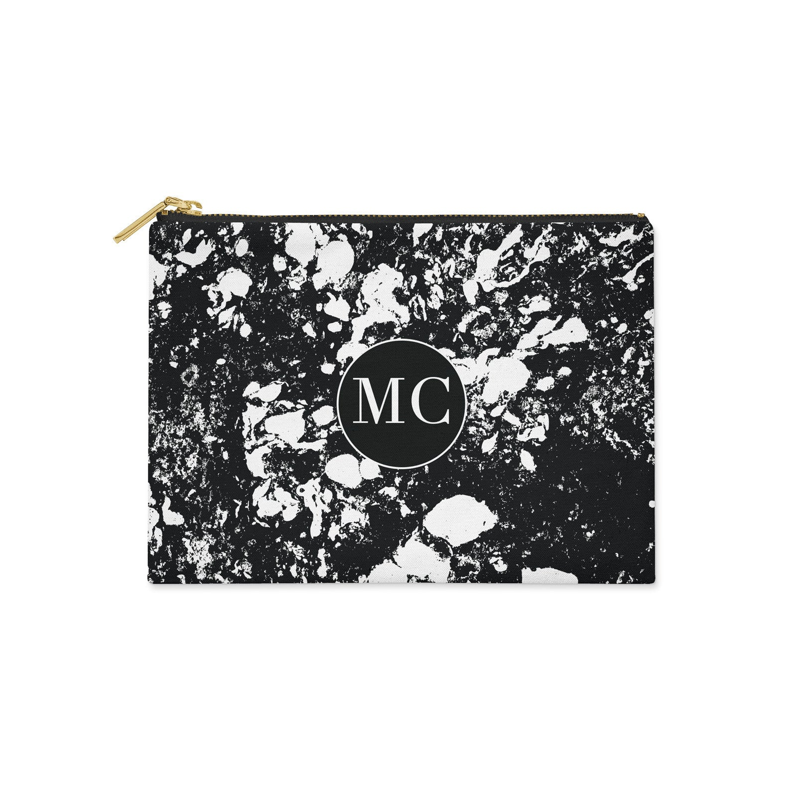 Monogram Black Marble with Initials Canvas Clutch Bag