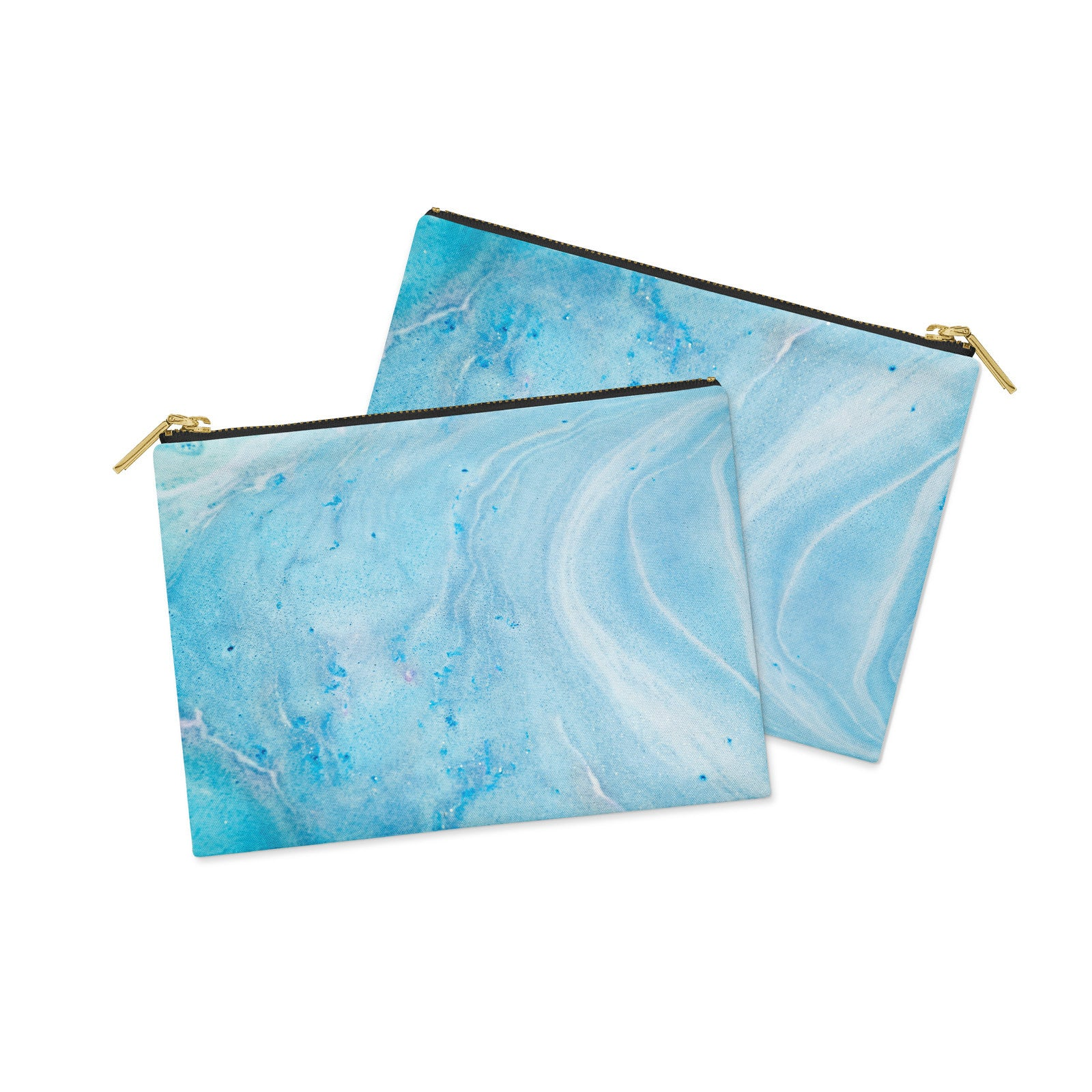 Blue Marble Canvas Clutch Bag