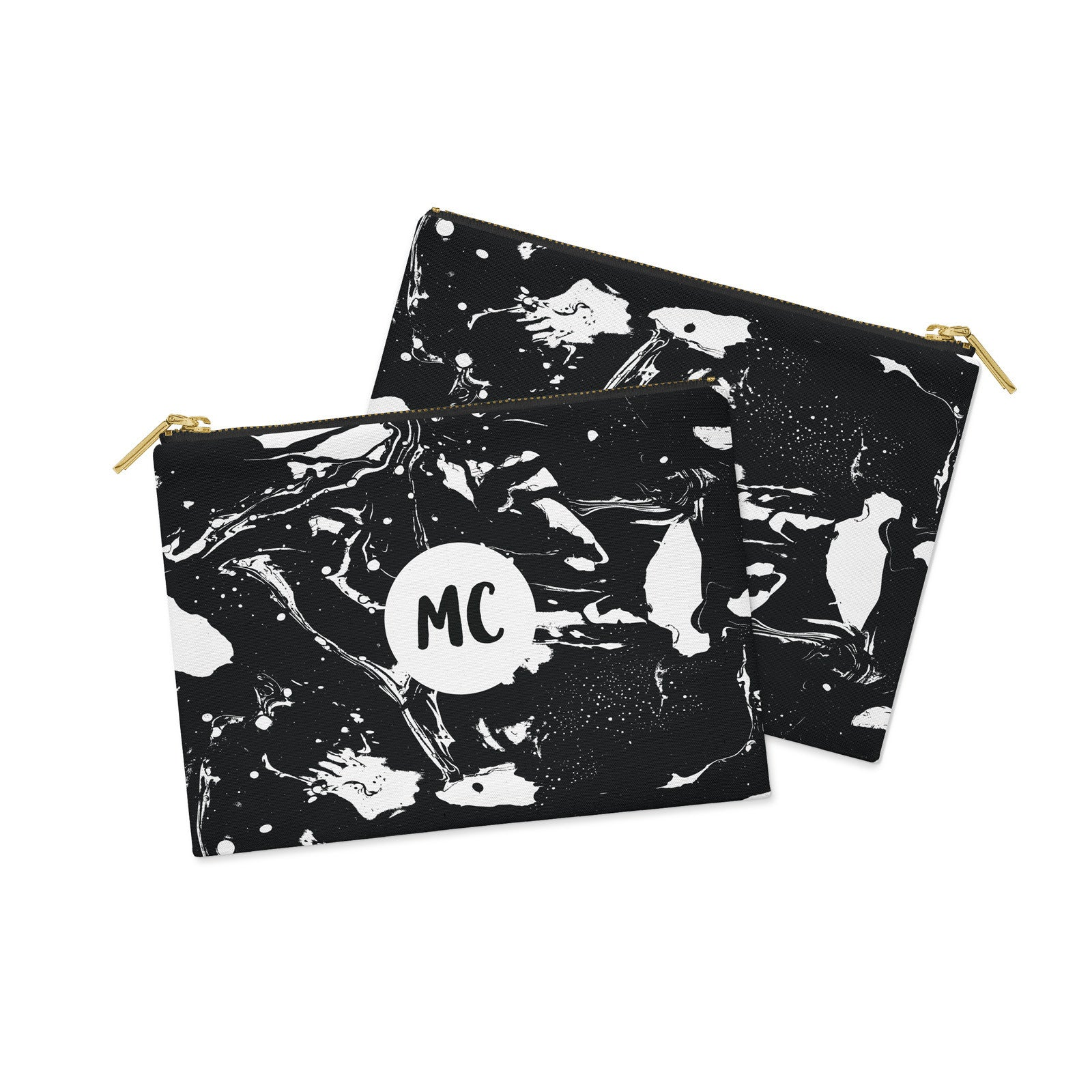 Monogram Black & White Marble Canvas Clutch Bag