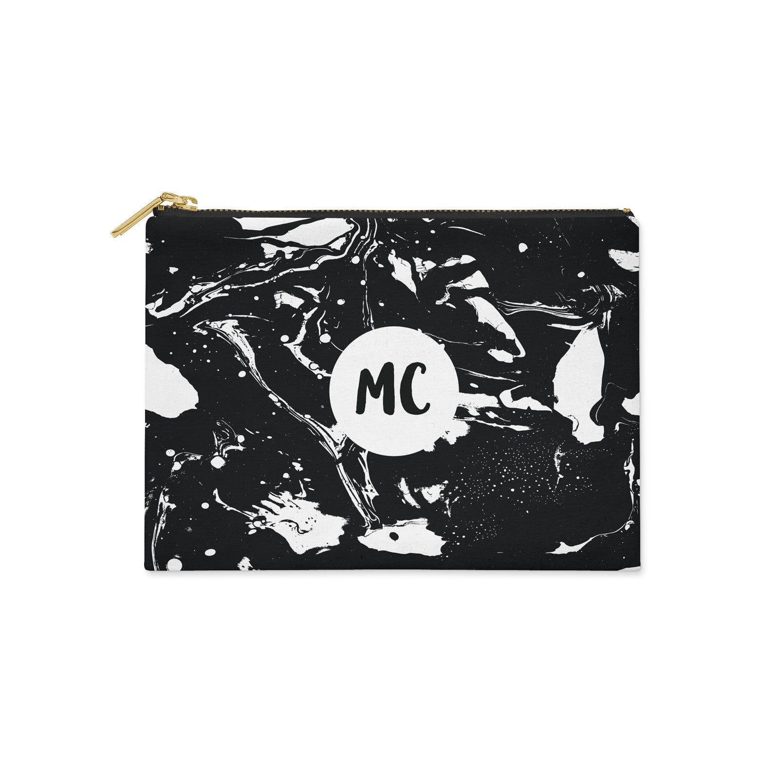 Monogram Black & White Marble Canvas Clutch