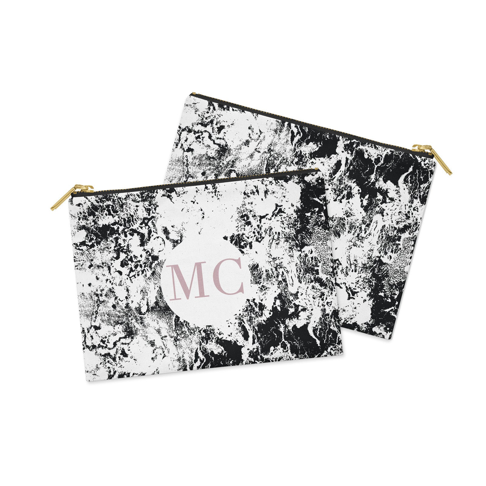 Monogram White & Black with Pink Marble Clutch Bag