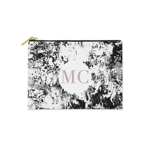Monogram White & Black with Pink Marble Clutch