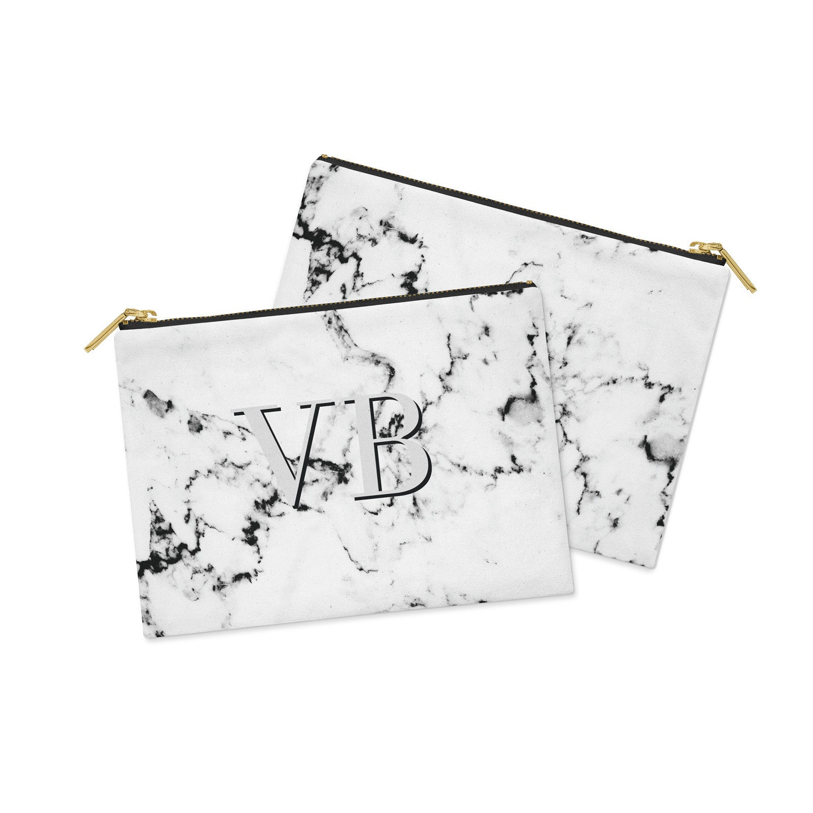 Personalised Marble with Grey Canvas Clutch Bag