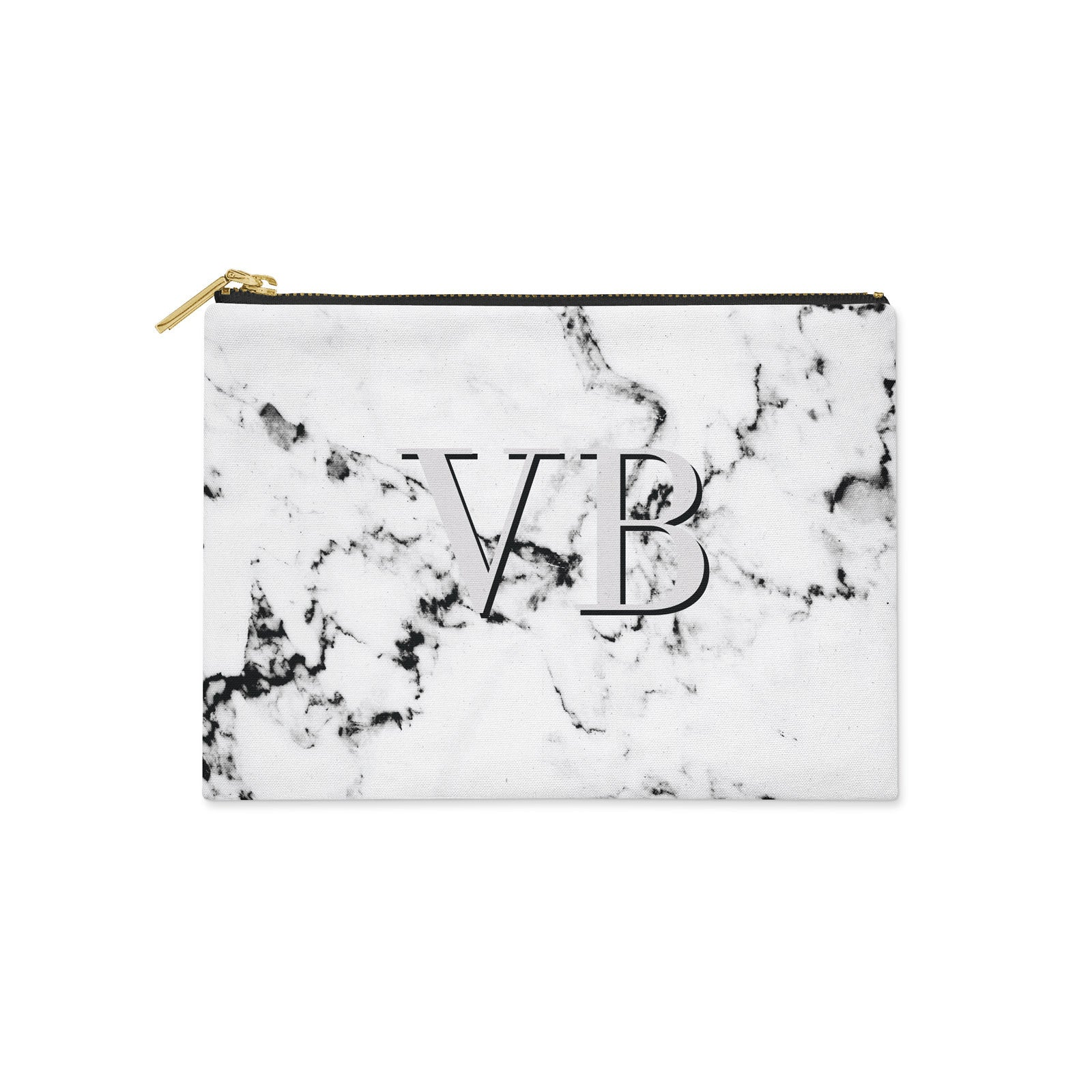 Personalised Marble with Grey Canvas Clutch