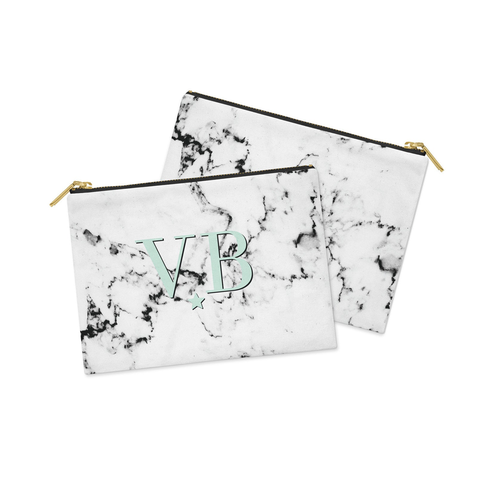 Personalised Marble with Green Canvas Clutch Bag