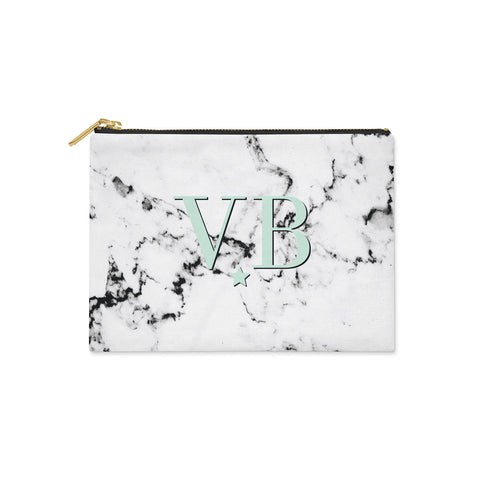 Personalised Marble with Green Canvas Clutch