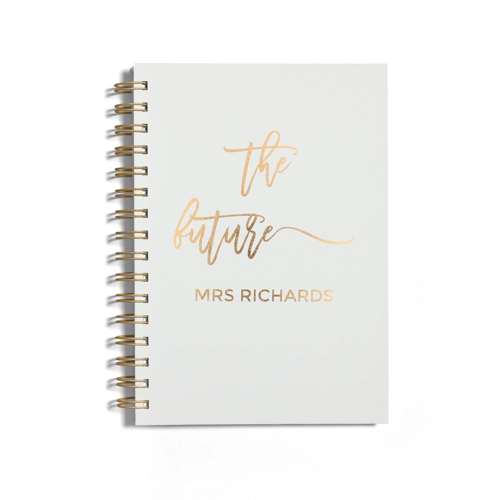 Personalised Copper Foil The Future Mrs Notebook