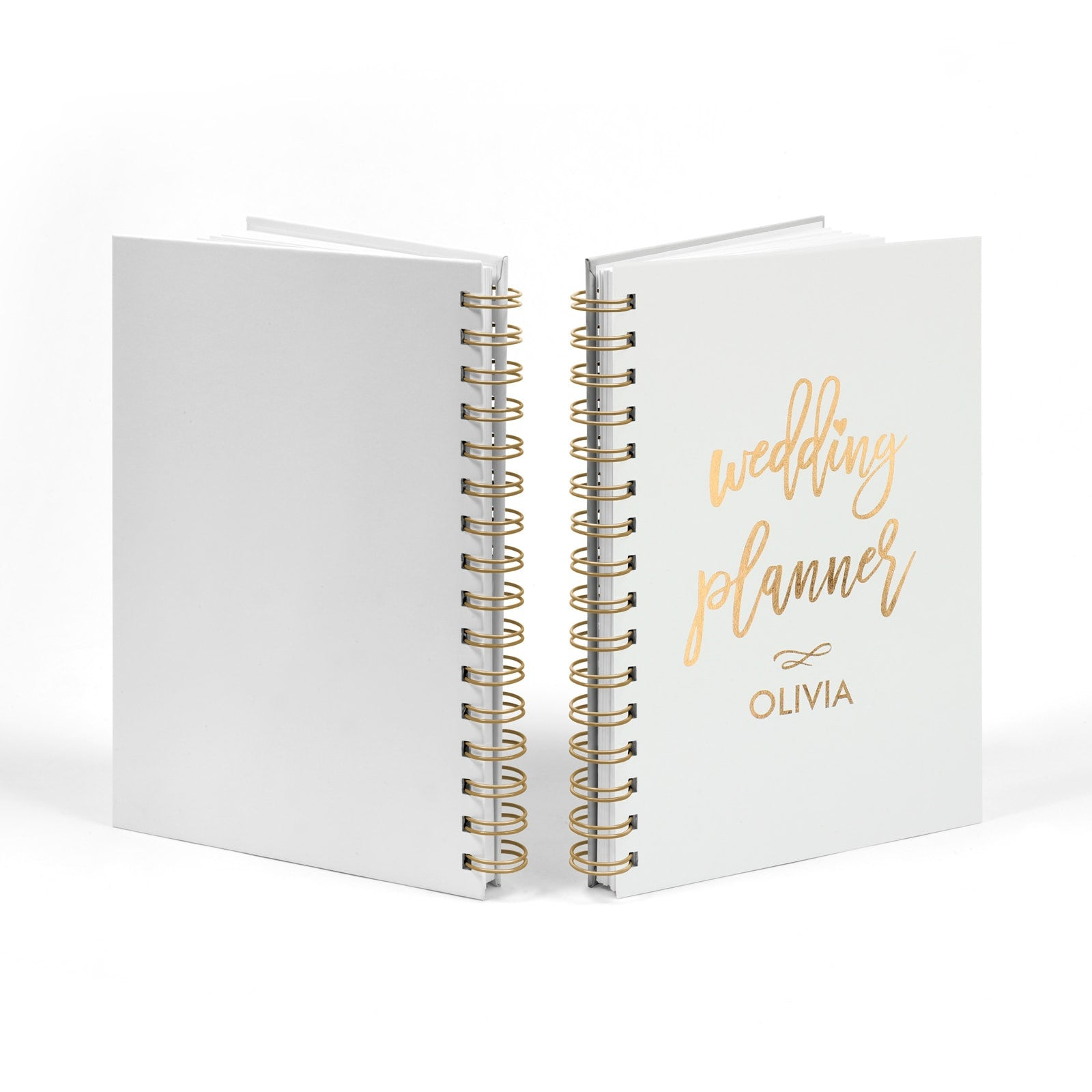 Personalised Copper Foil Wedding Planner Notebook Front & Back