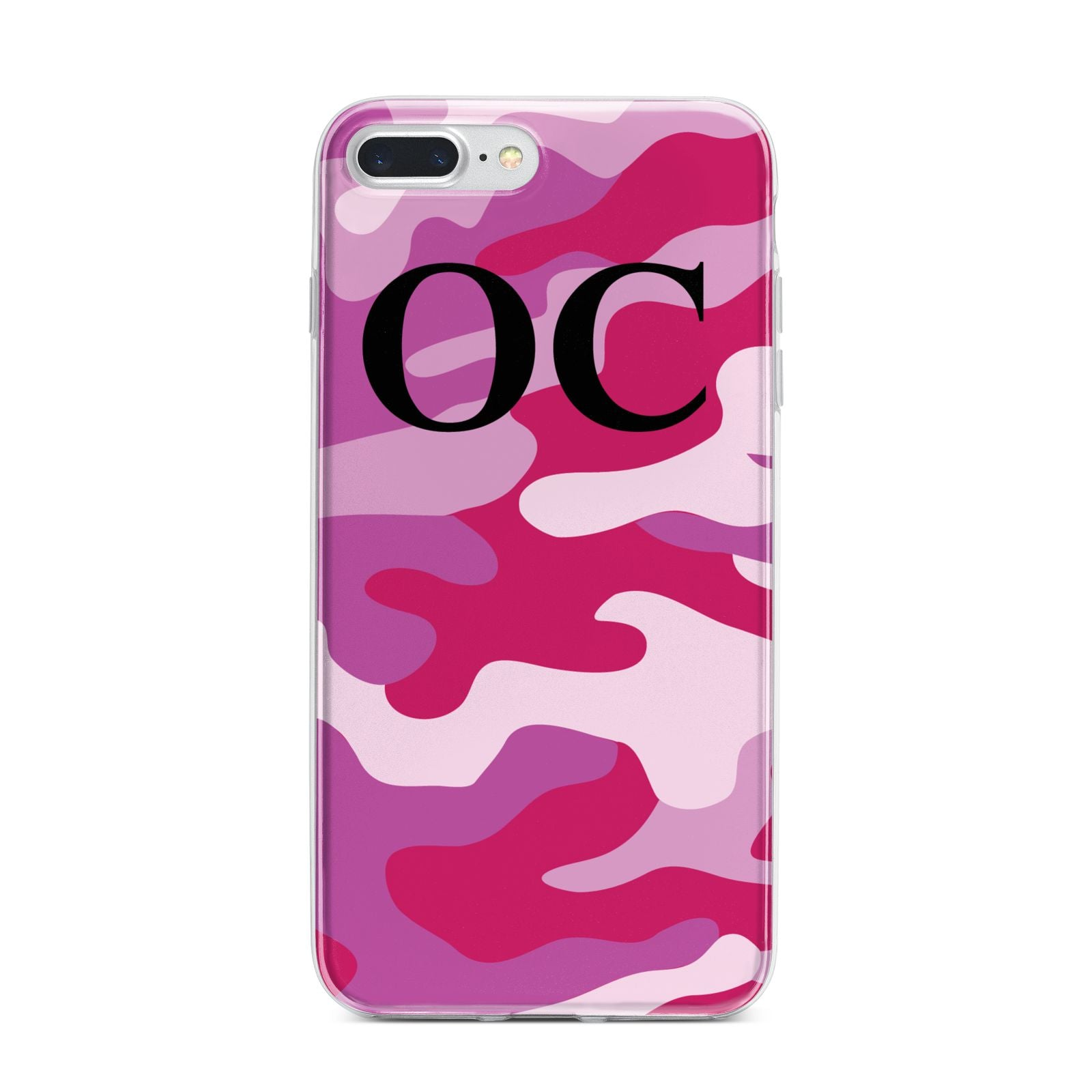 Camouflage Personalised iPhone 7 Plus Bumper Case on Silver iPhone
