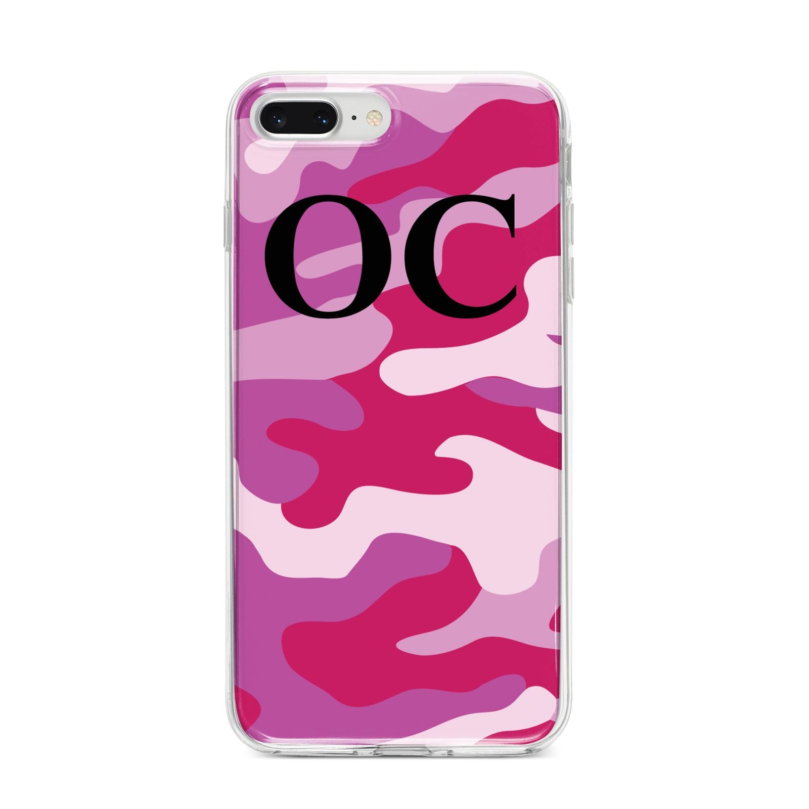Camouflage Personalised iPhone 8 Plus Bumper Case on Silver iPhone