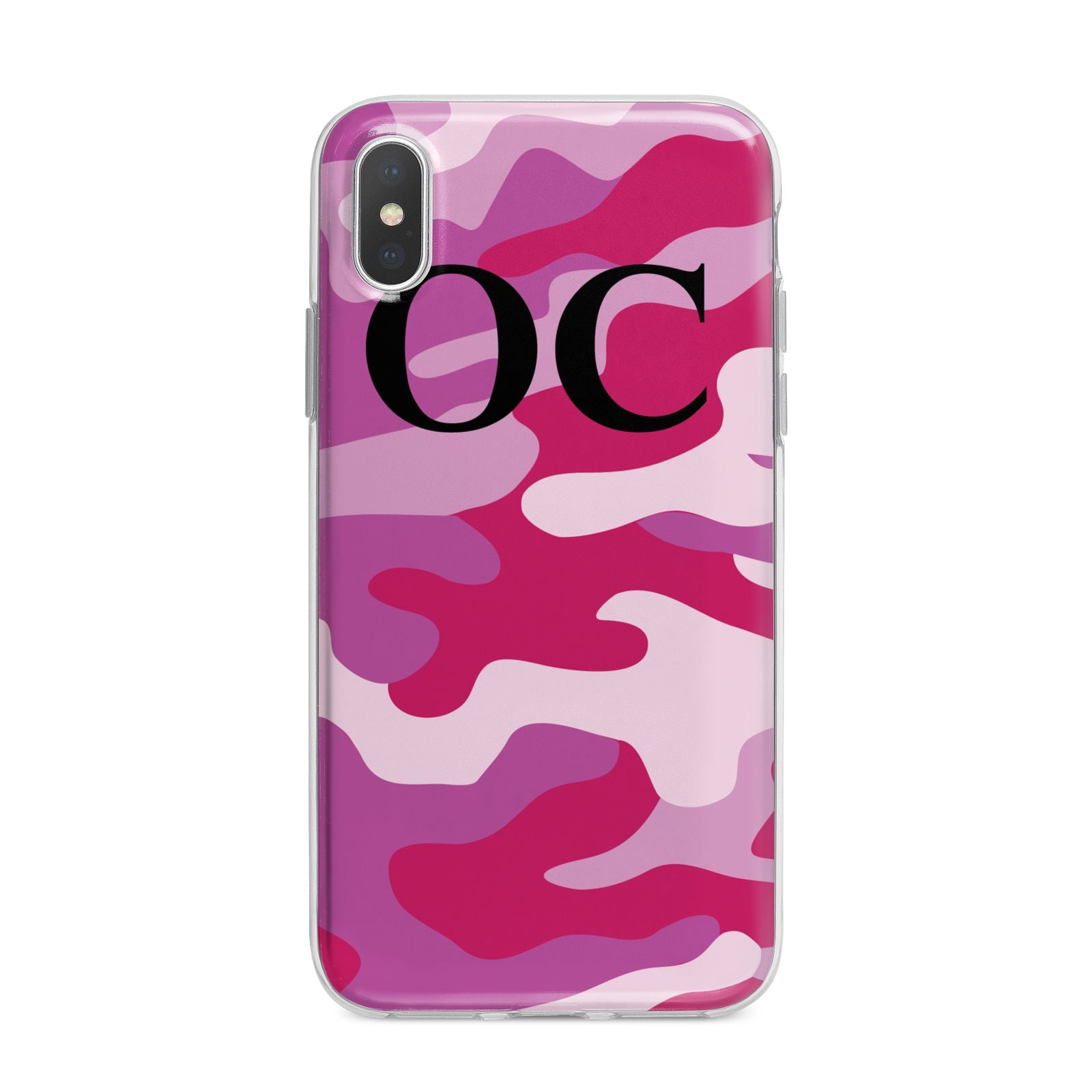 Camouflage Personalised iPhone X Bumper Case on Silver iPhone Alternative Image 1