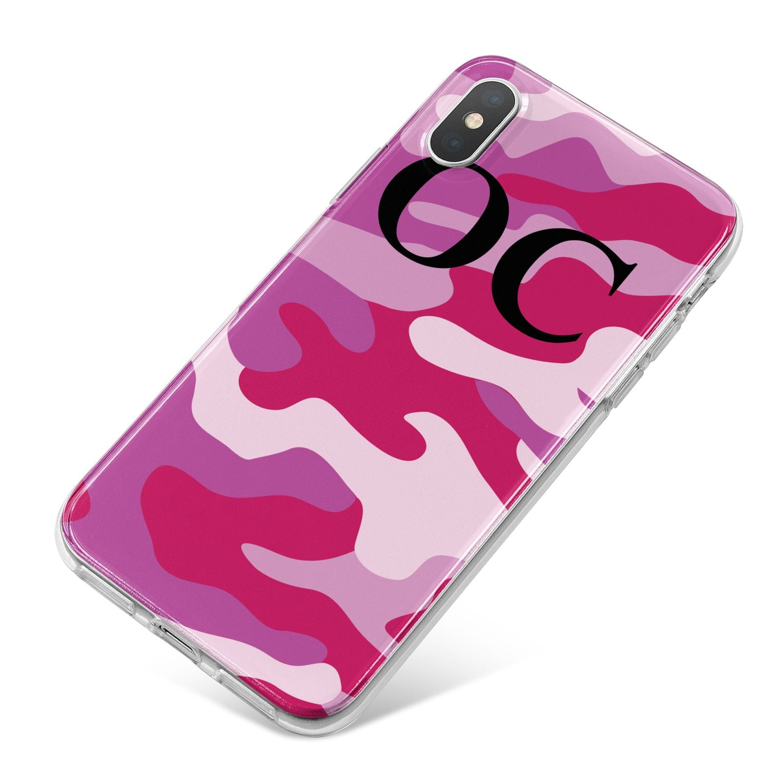 Camouflage Personalised iPhone X Bumper Case on Silver iPhone