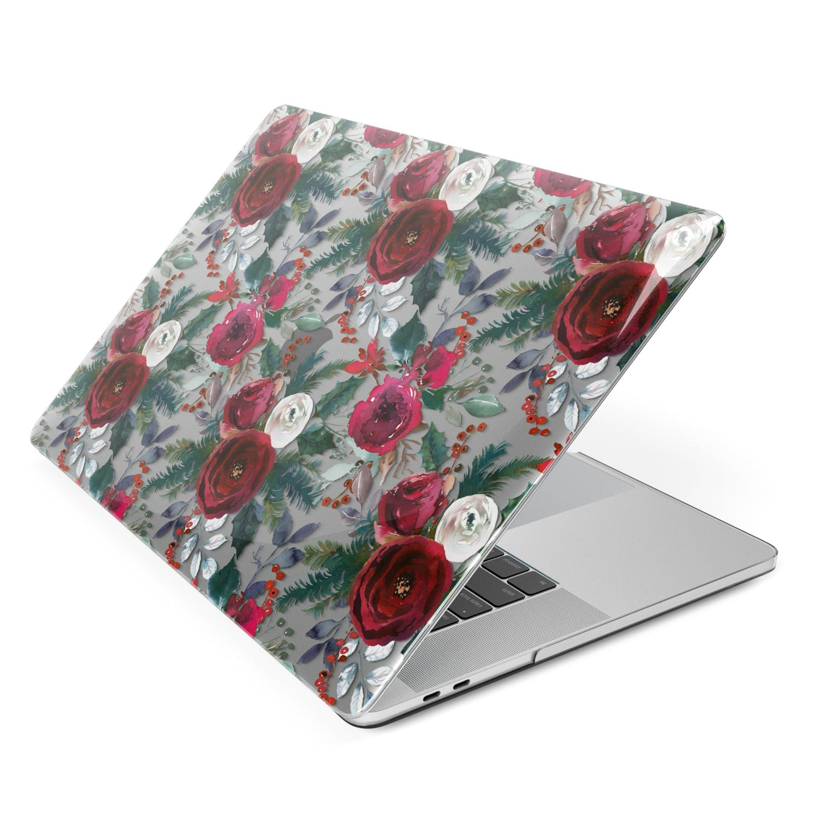 Christmas Floral Pattern Apple MacBook Case Side View