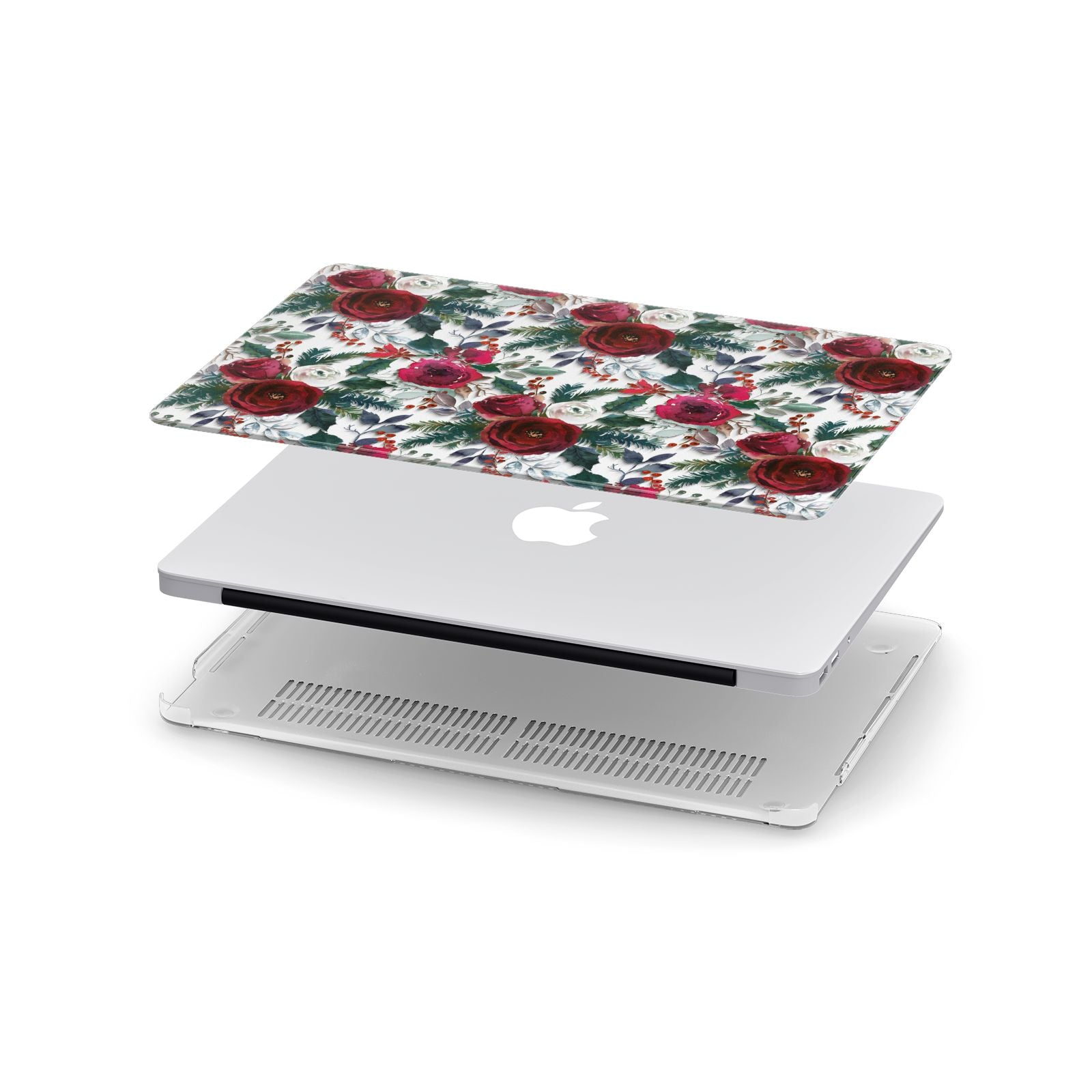 Christmas Floral Pattern Apple MacBook Case in Detail