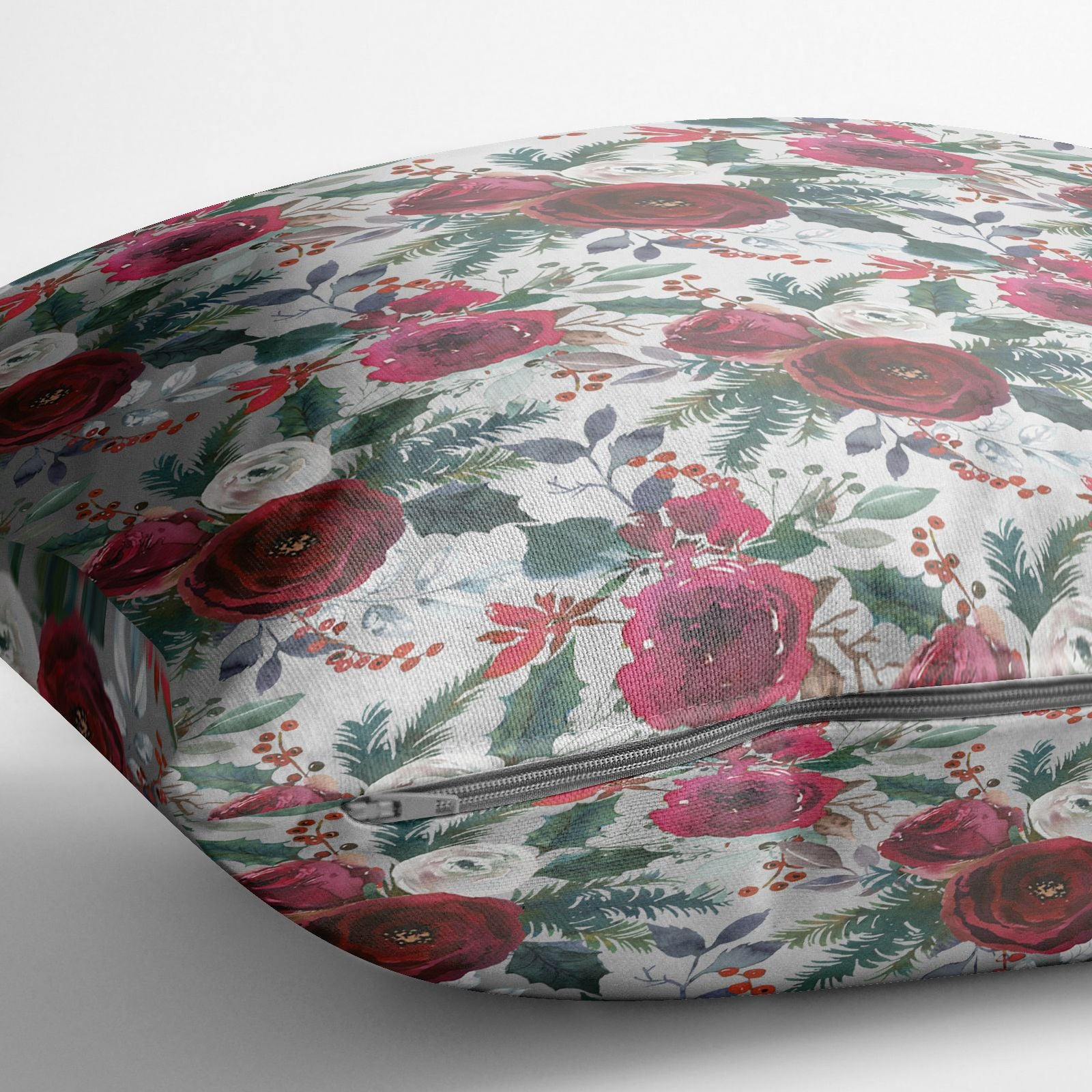 Christmas Floral Pattern Cotton Cushion Alternative Image