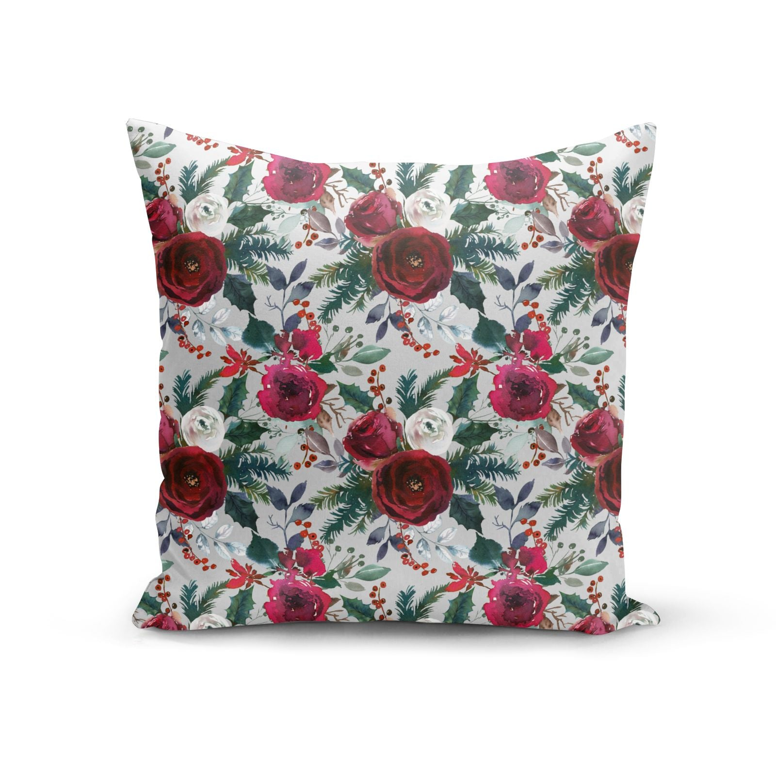 Christmas Floral Pattern Cotton Cushion