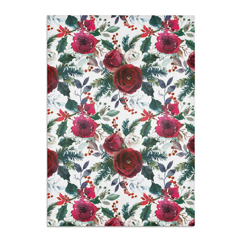 Christmas Floral Pattern Tea Towel