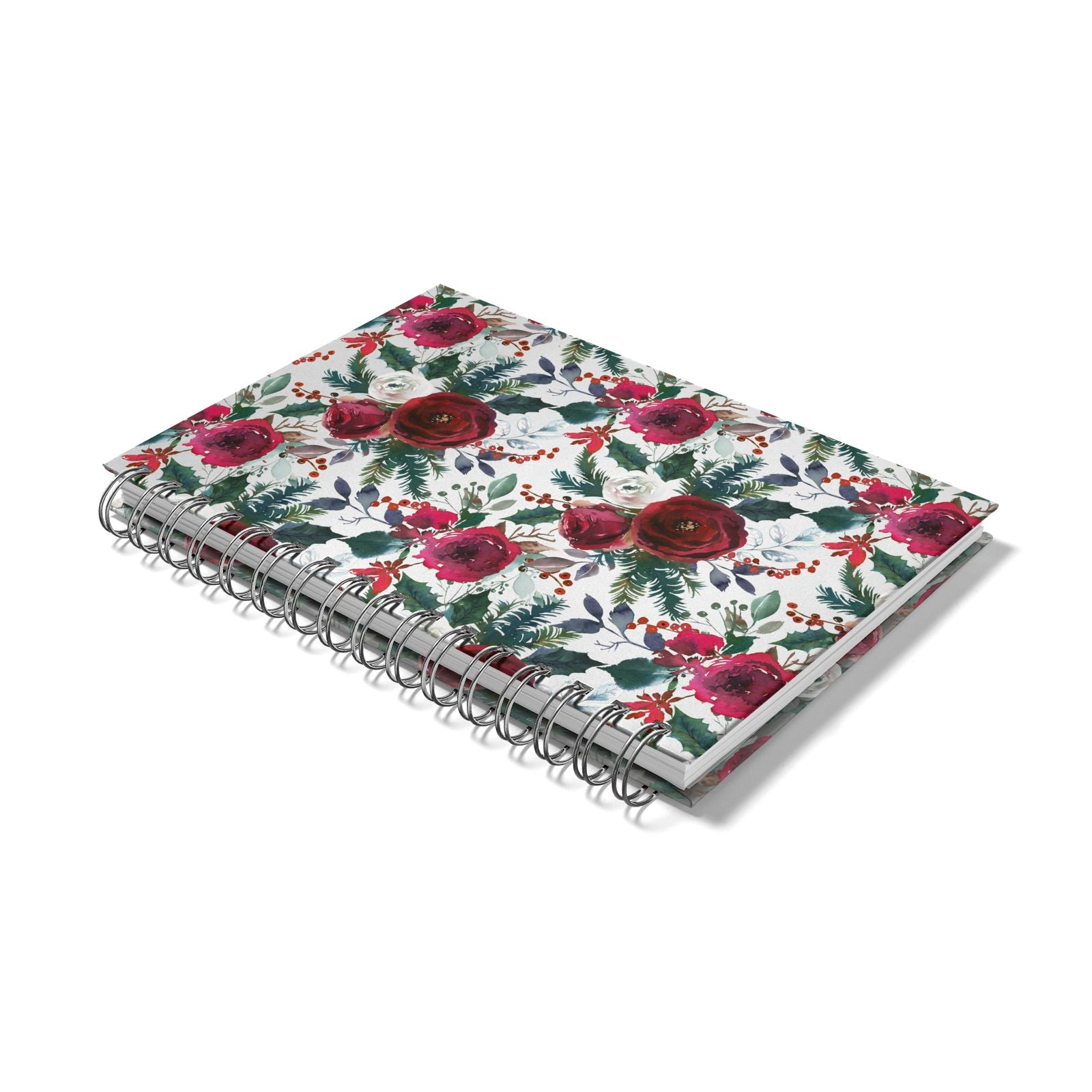 Christmas Floral Pattern Notebook with Silver Coil Laid Flat