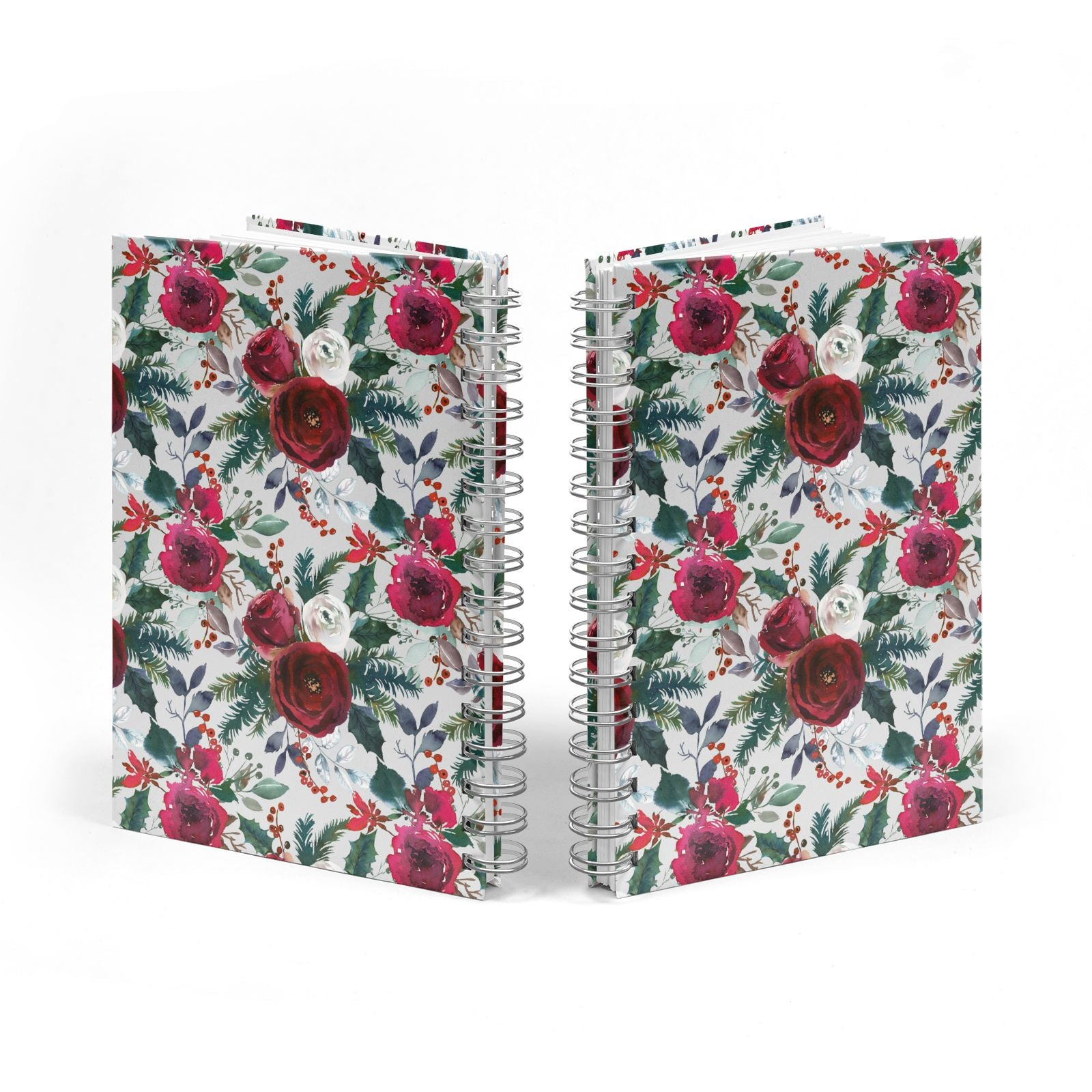 Christmas Floral Pattern Notebook with Silver Coil Spine View