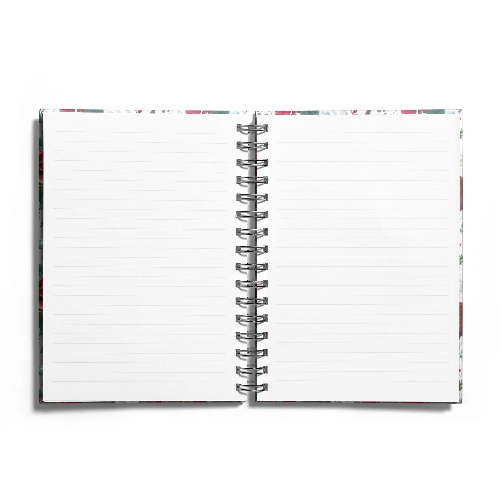 Christmas Floral Pattern Notebook with Silver Coil and Lined Paper