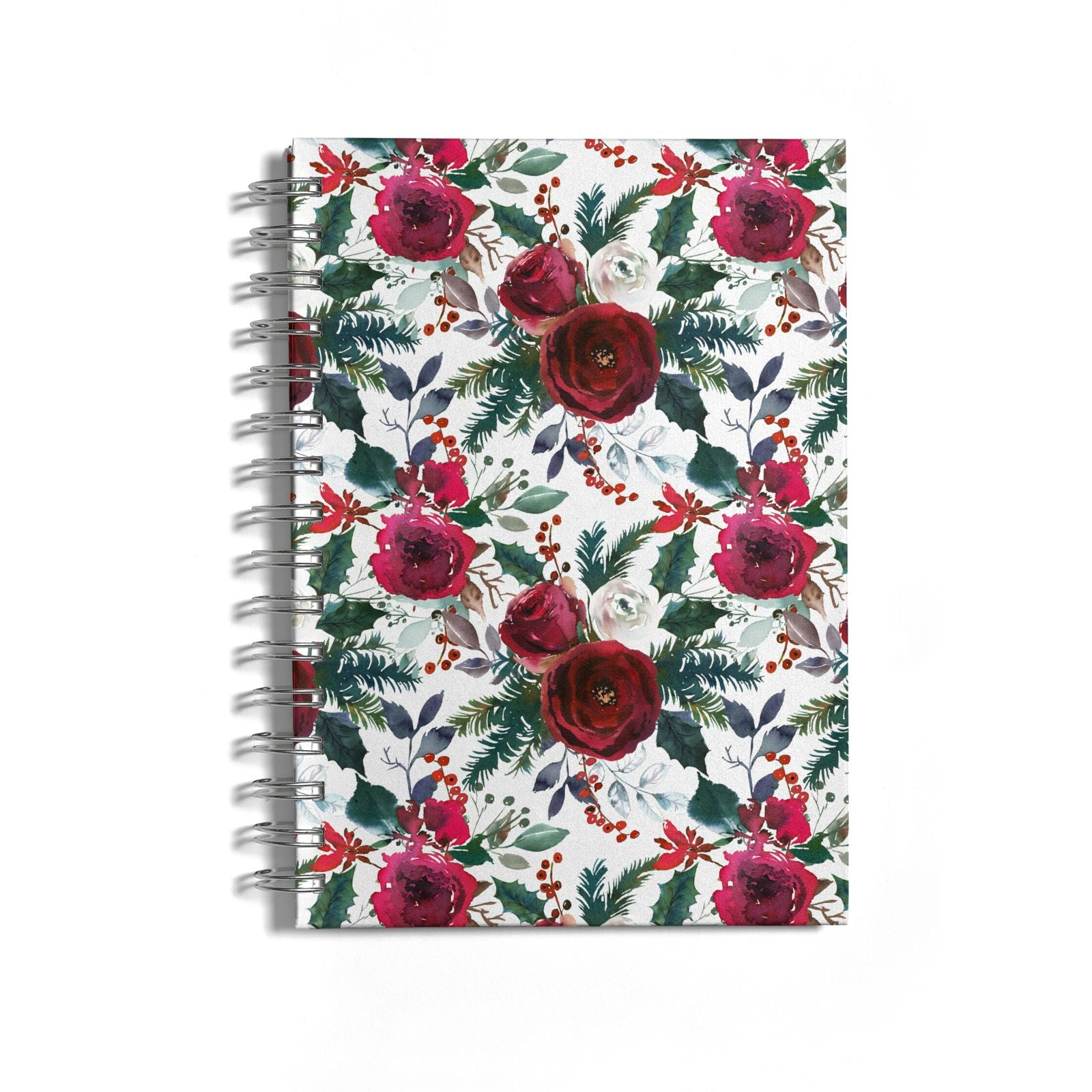 Christmas Floral Pattern Notebook with Silver Coil