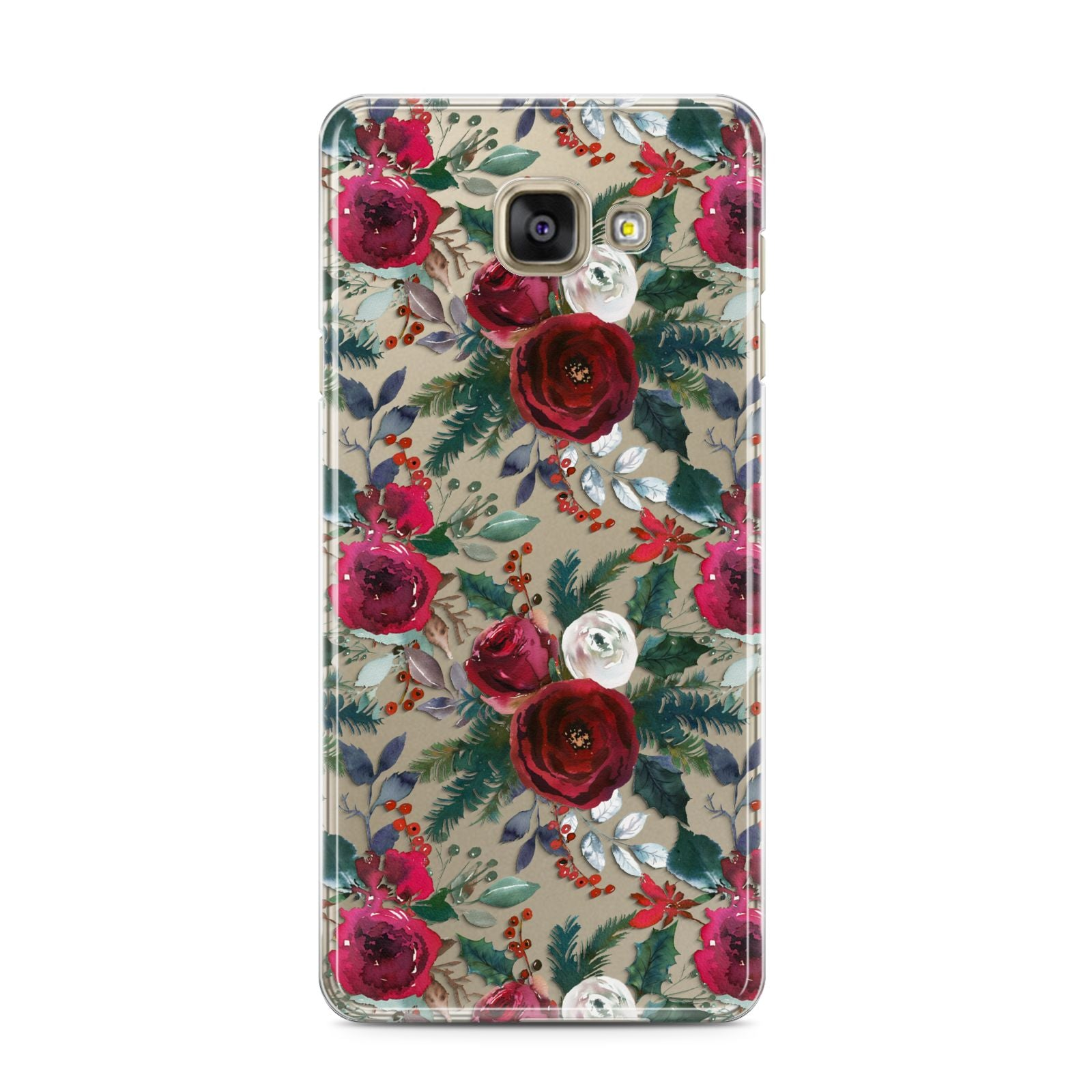 Christmas Floral Pattern Samsung Galaxy A3 2016 Case on gold phone