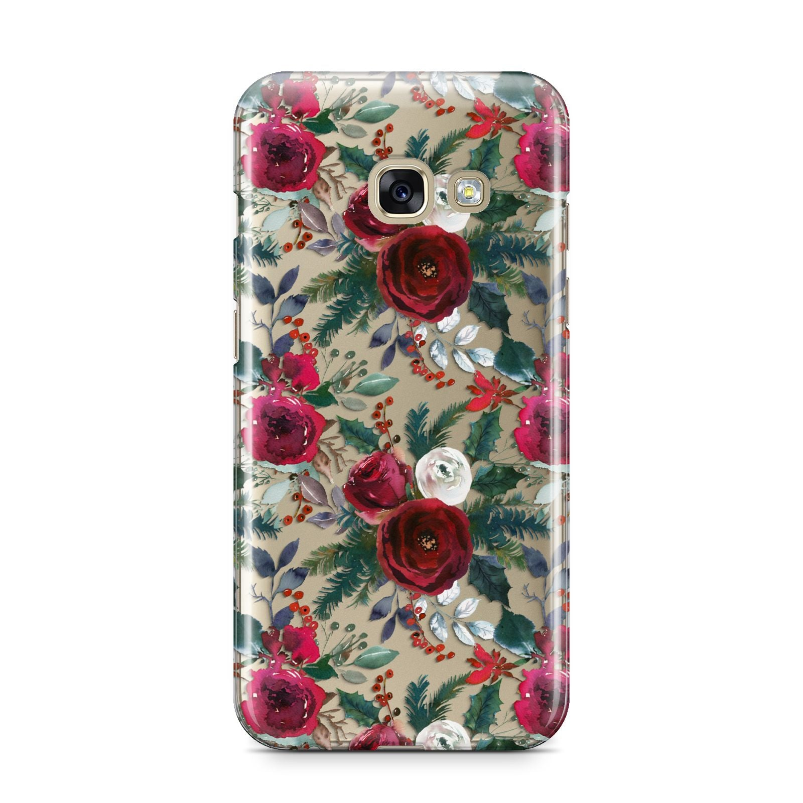 Christmas Floral Pattern Samsung Galaxy A3 2017 Case on gold phone