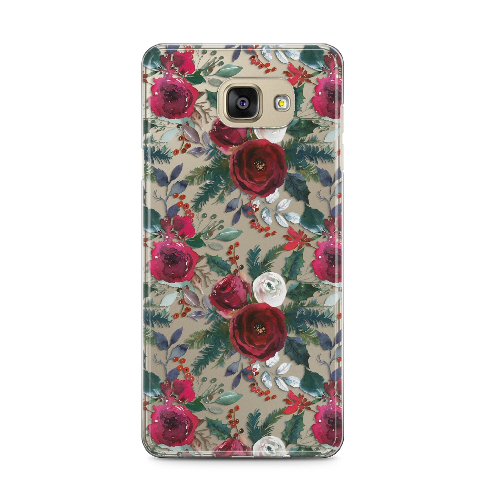 Christmas Floral Pattern Samsung Galaxy A5 2016 Case on gold phone