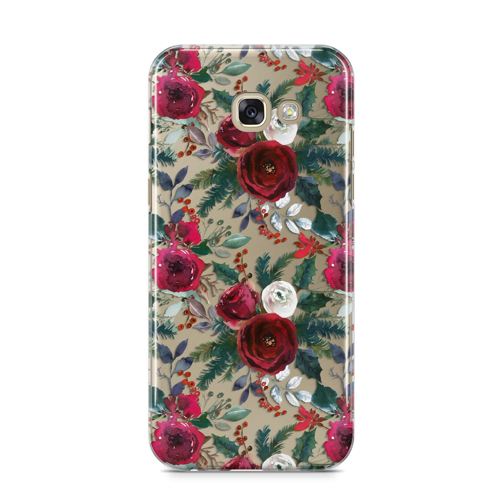 Christmas Floral Pattern Samsung Galaxy A5 2017 Case on gold phone