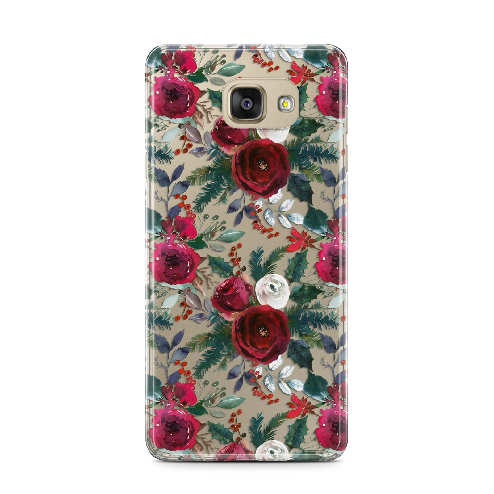 Christmas Floral Pattern Samsung Galaxy A7 2016 Case on gold phone