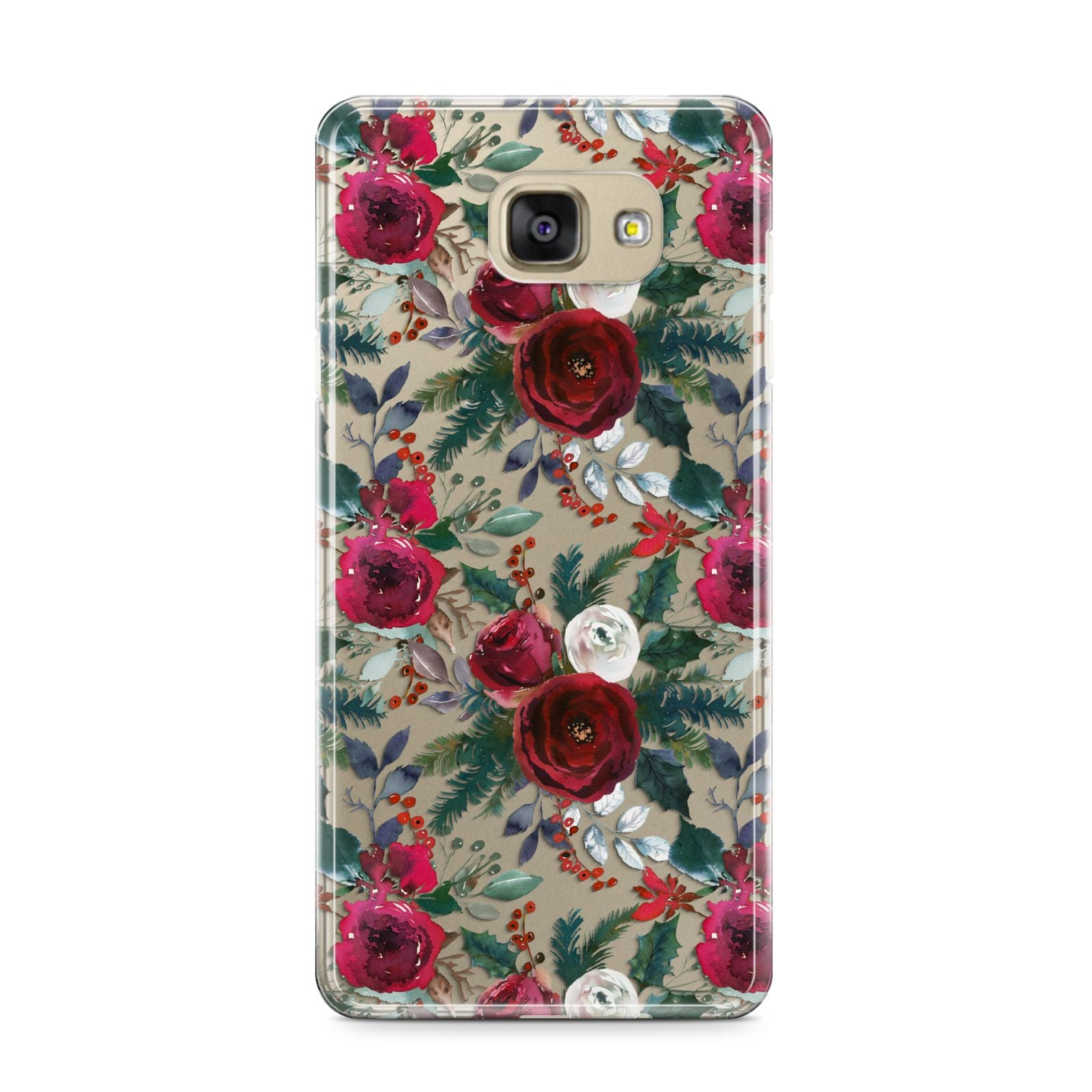 Christmas Floral Pattern Samsung Galaxy A9 2016 Case on gold phone