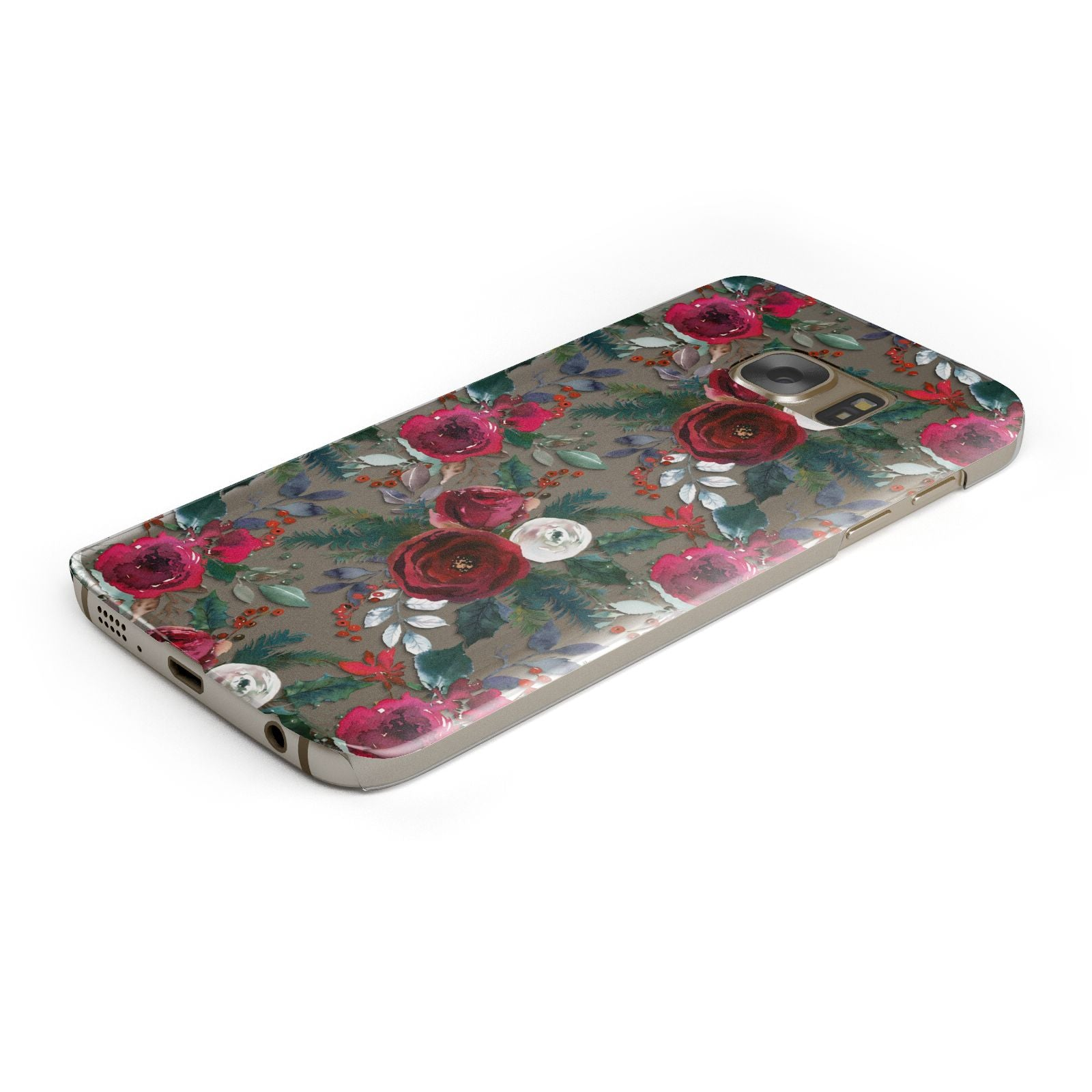 Christmas Floral Pattern Samsung Galaxy Case Bottom Cutout