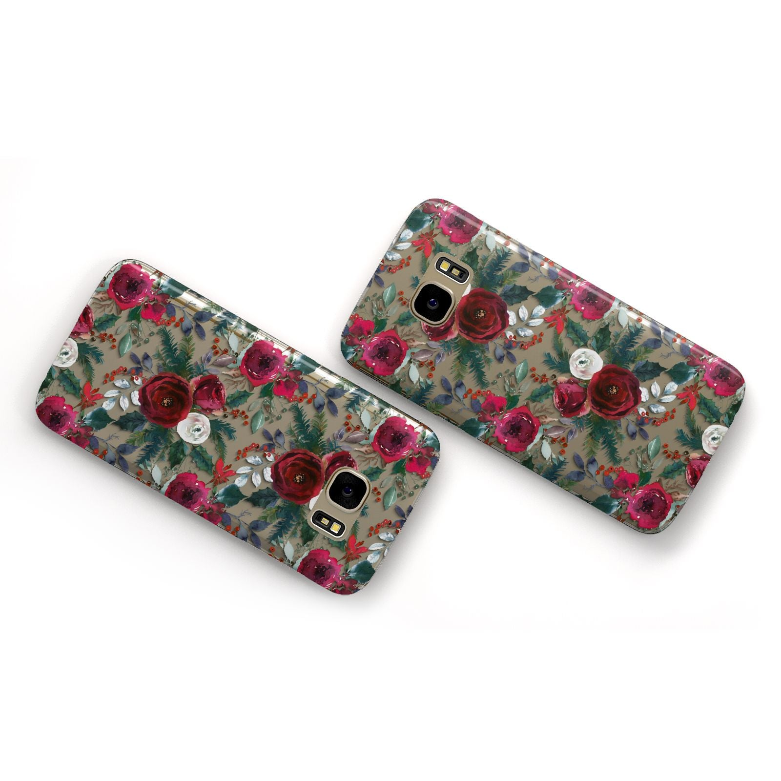 Christmas Floral Pattern Samsung Galaxy Case Flat Overview