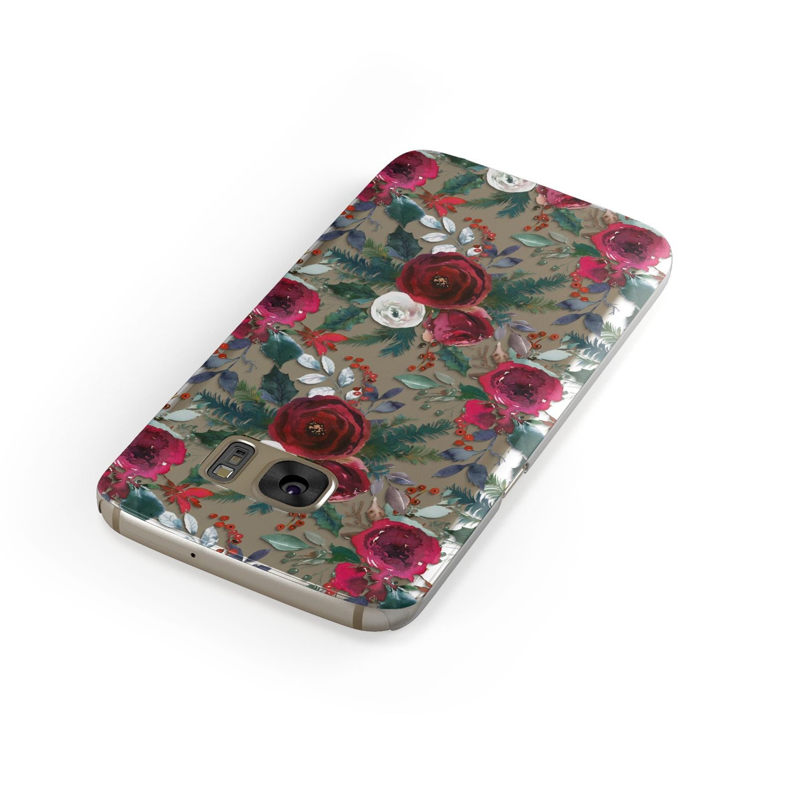 Christmas Floral Pattern Samsung Galaxy Case Front Close Up