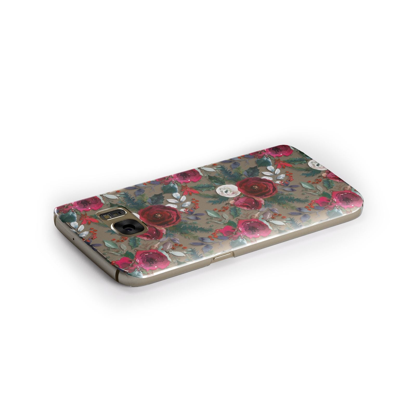 Christmas Floral Pattern Samsung Galaxy Case Side Close Up