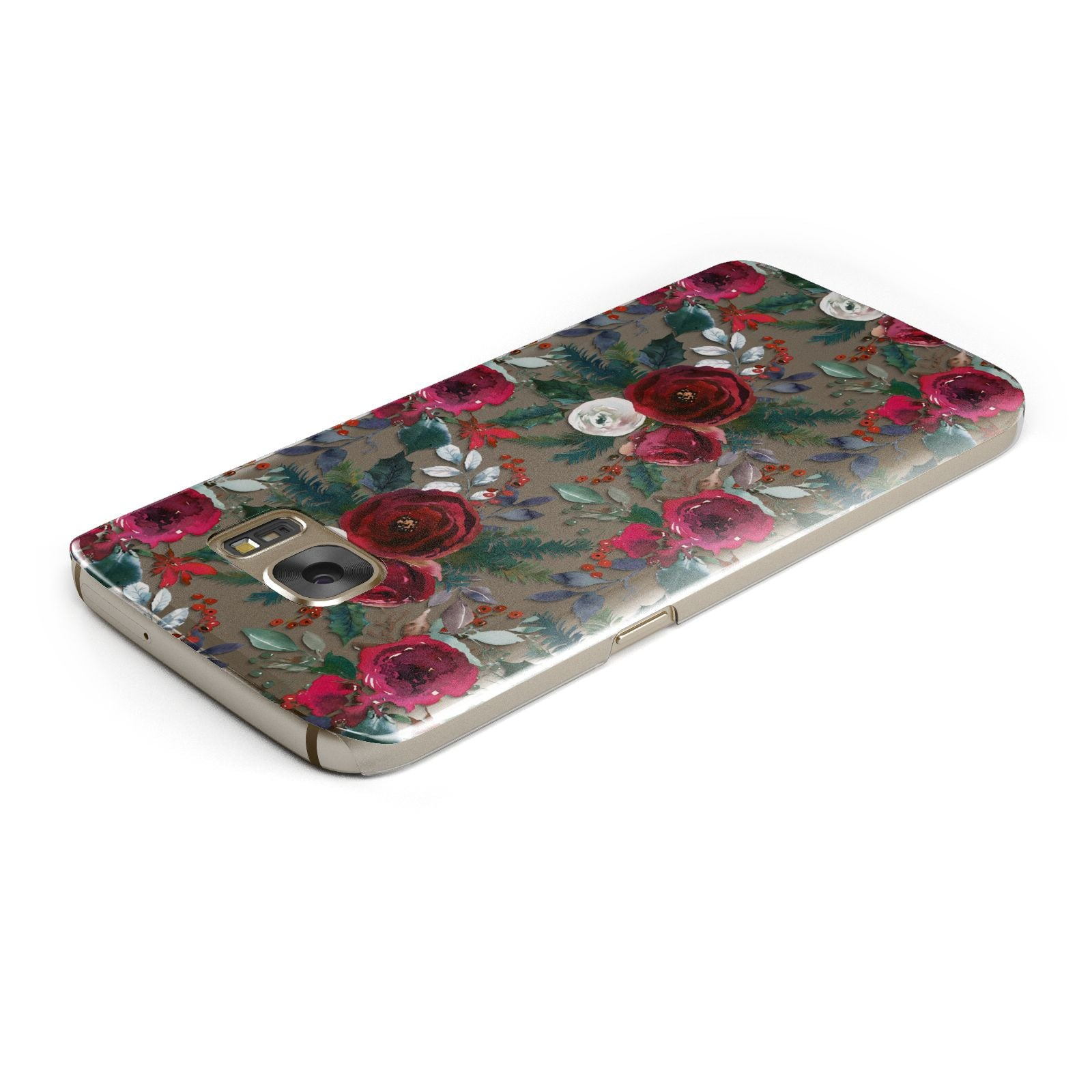 Christmas Floral Pattern Samsung Galaxy Case Top Cutout