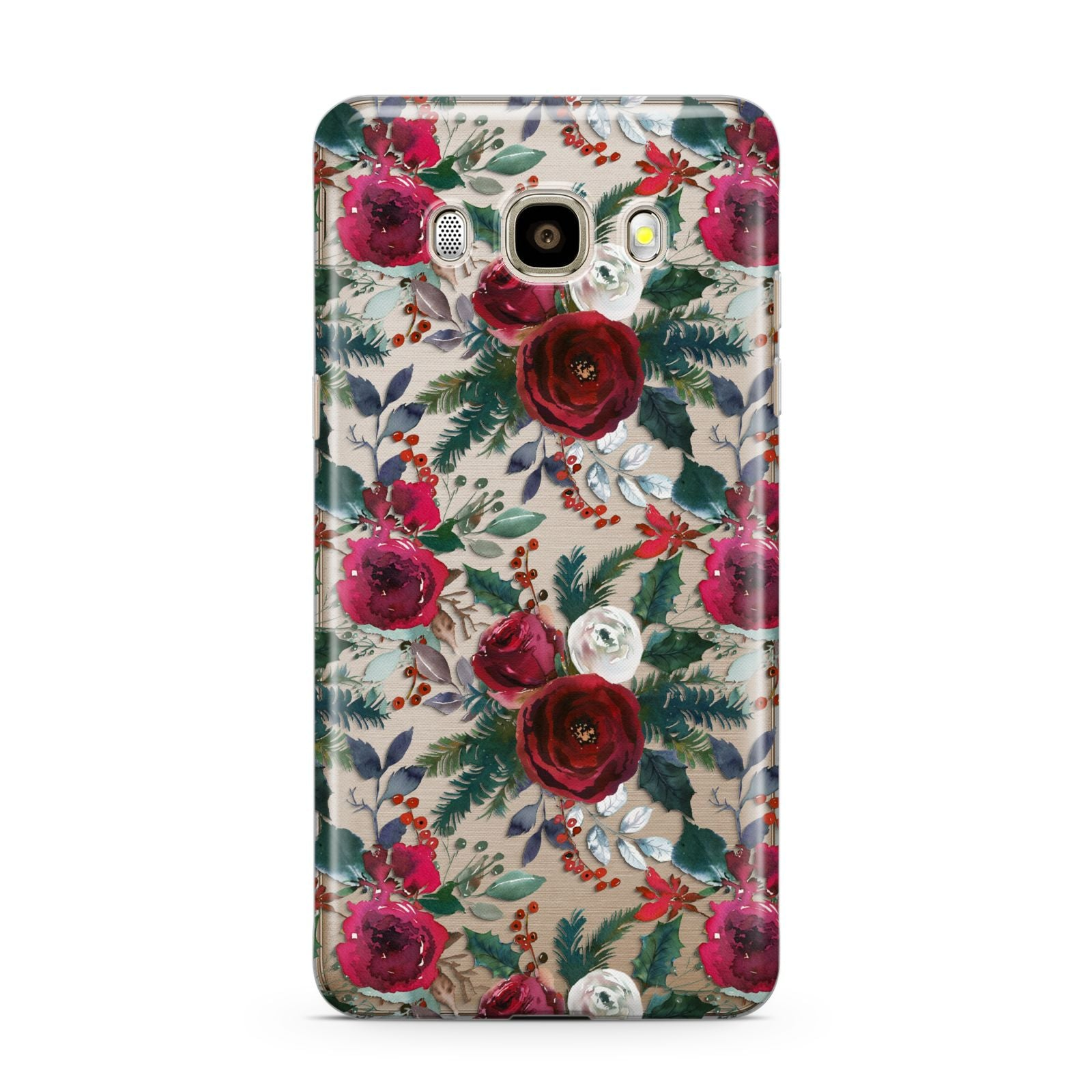 Christmas Floral Pattern Samsung Galaxy J7 2016 Case on gold phone