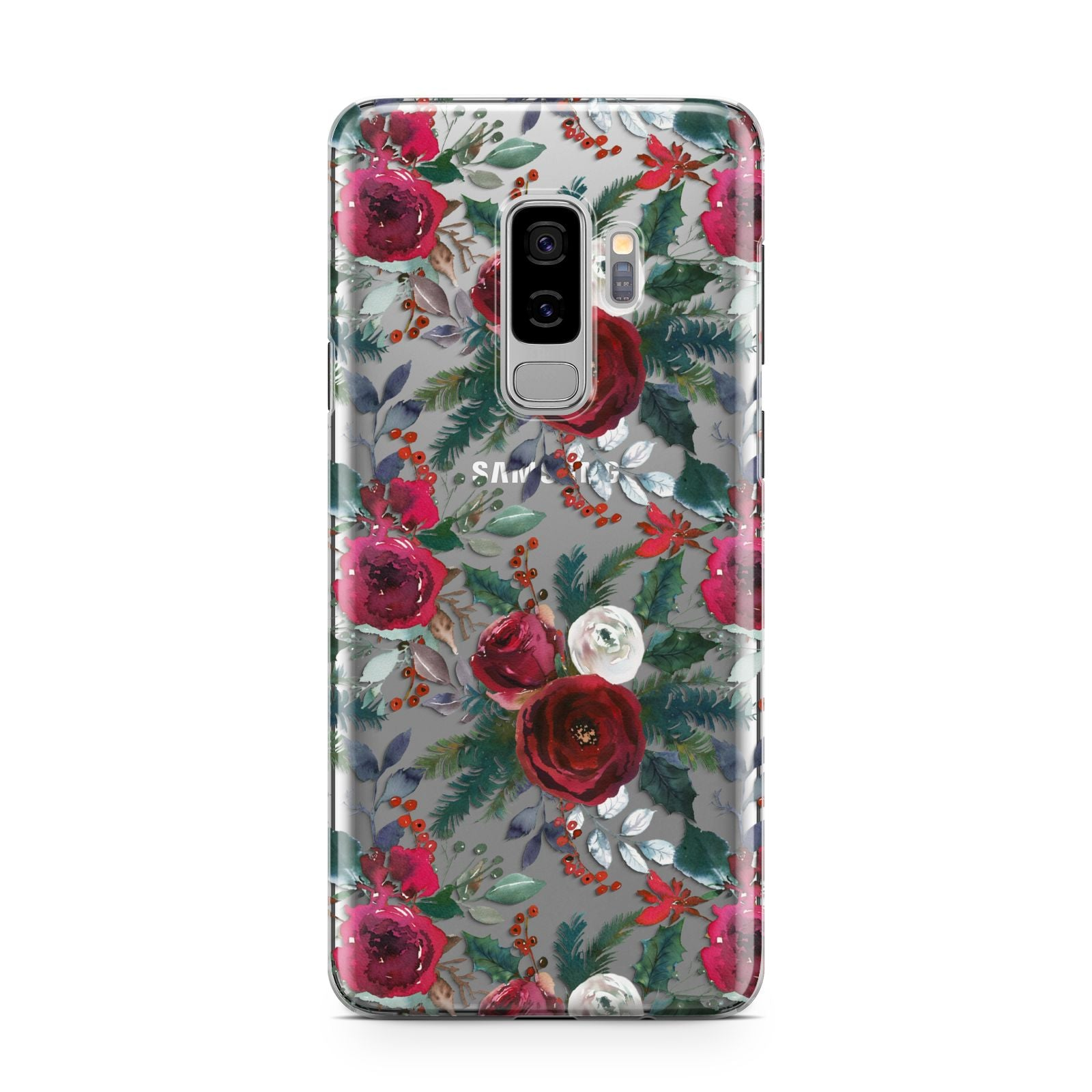 Christmas Floral Pattern Samsung Galaxy S9 Plus Case on Silver phone