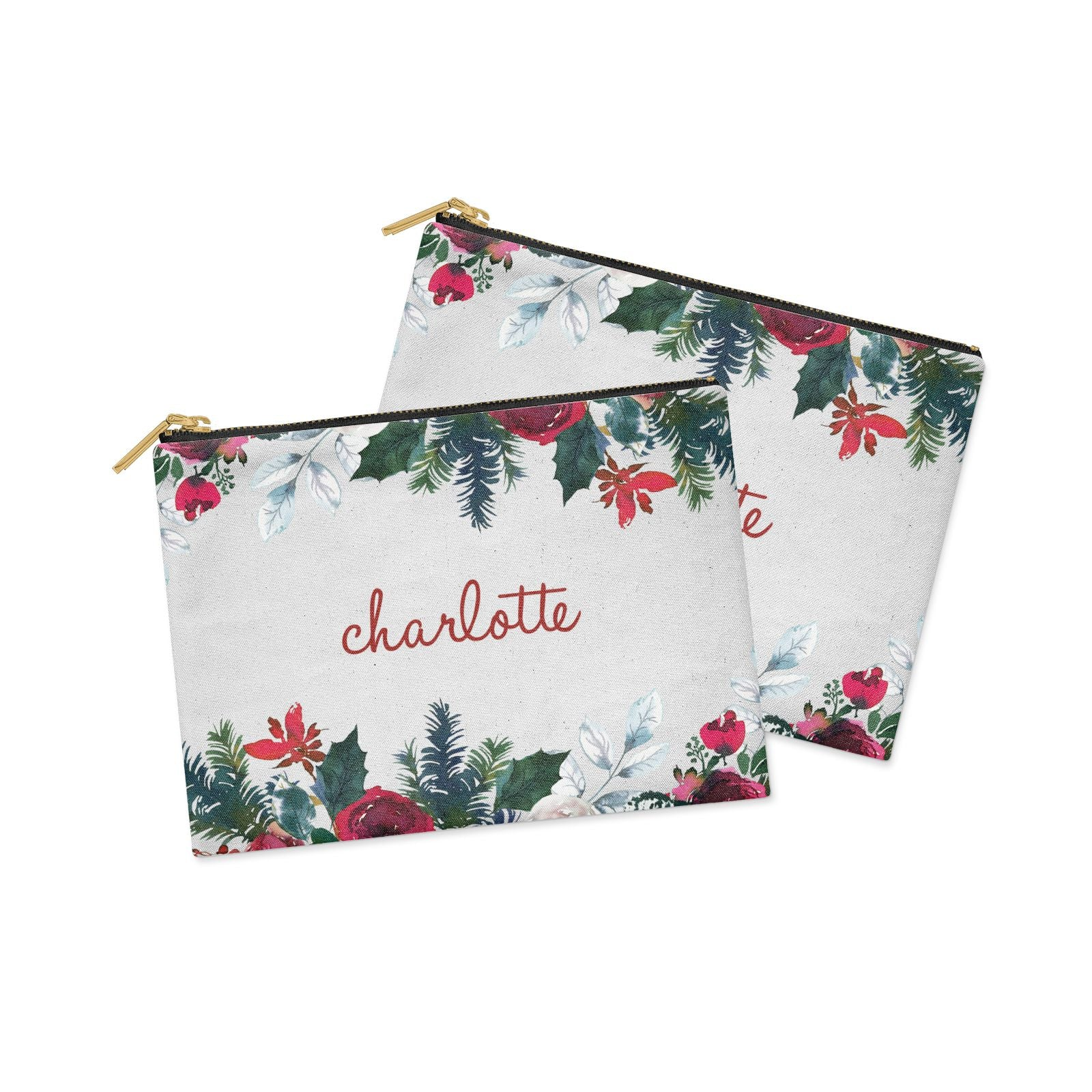 Christmas Flowers Personalised Clutch Bag Zipper Pouch Alternative View