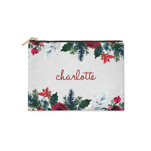 Christmas Flowers Personalised Clutch Bag Zipper Pouch