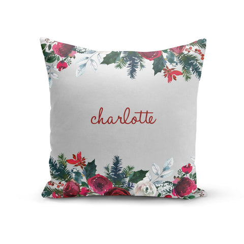 Christmas Flowers Personalised Cushion