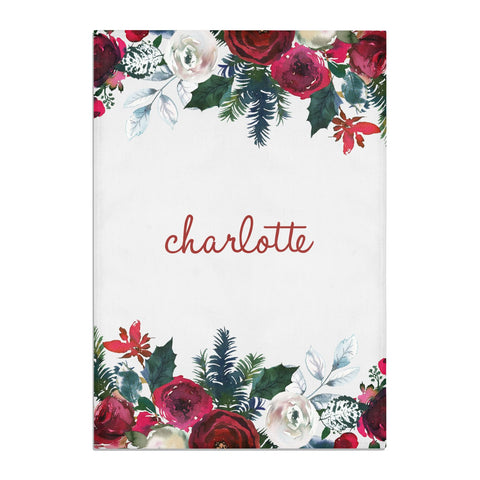 Christmas Flowers Personalised Tea Towel