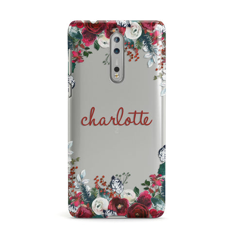 Christmas Flowers Personalised Nokia Case