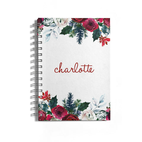 Christmas Flowers Personalised Notebook