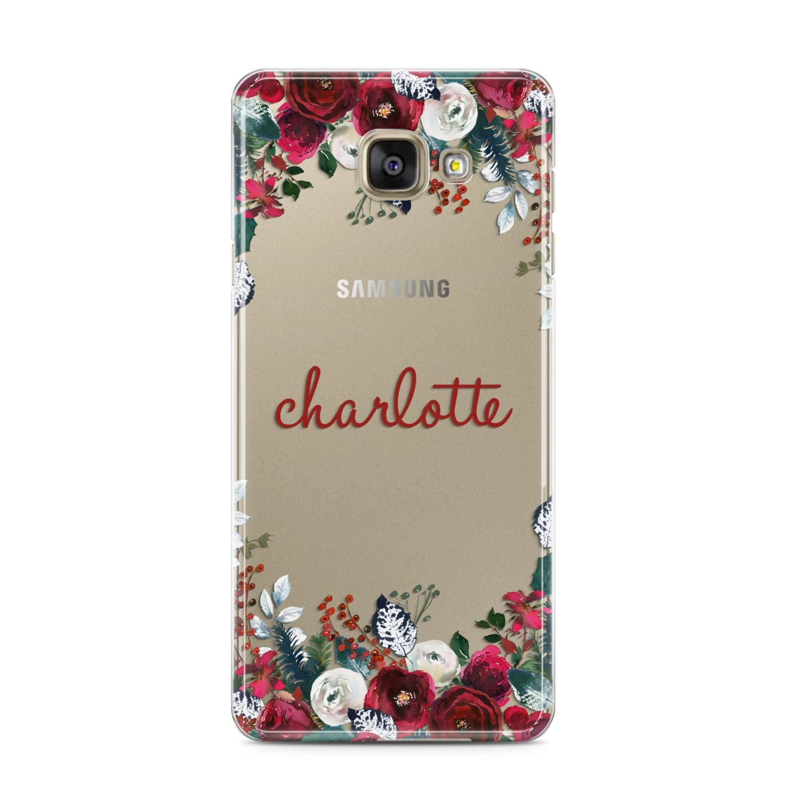 Christmas Flowers Personalised Samsung Galaxy A3 2016 Case on gold phone