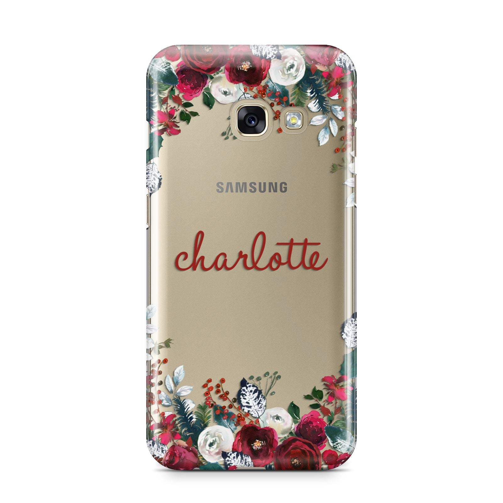 Christmas Flowers Personalised Samsung Galaxy A3 2017 Case on gold phone