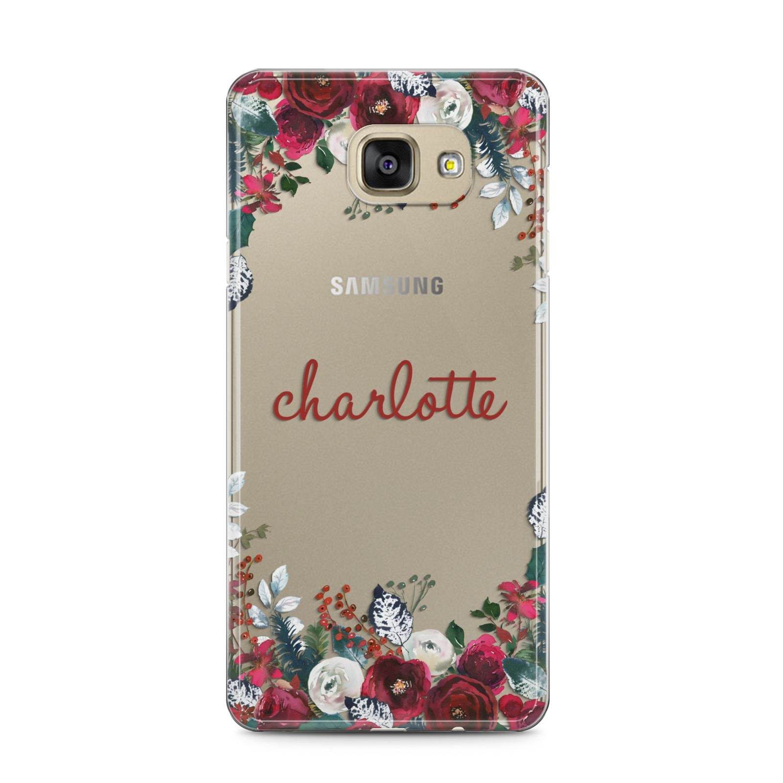 Christmas Flowers Personalised Samsung Galaxy A5 2016 Case on gold phone