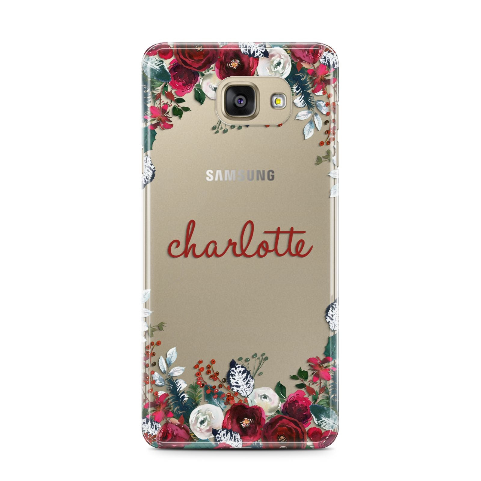 Christmas Flowers Personalised Samsung Galaxy A7 2016 Case on gold phone