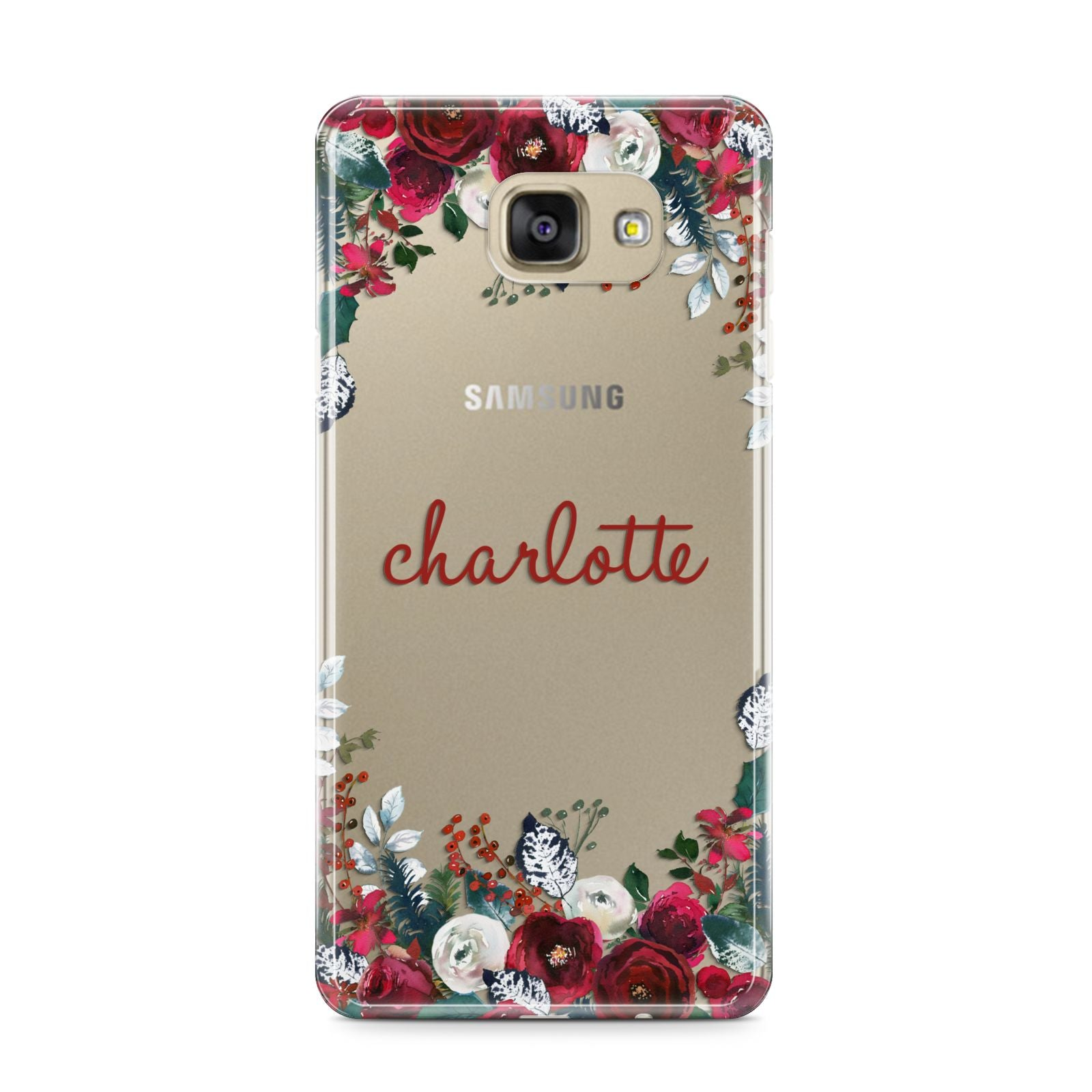 Christmas Flowers Personalised Samsung Galaxy A9 2016 Case on gold phone